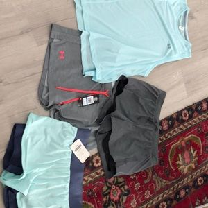 Three new workout shorts and one top